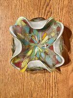Vintage Murano Avem Tutti Frutti Art Glass Bowl Vibrant Colors Gold And Silver