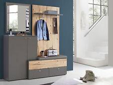 CLARA Garderobenset Garderobe Komplettgarderobe mit Spiegel Dekor Eiche Grau