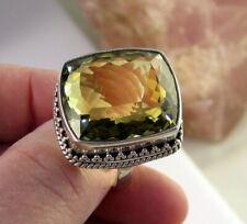 Estate Vintage Rare Massive Ornate Sterling Silver Lemon Quartz 18.5 Gram Ring