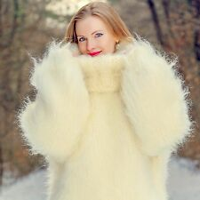Mega thick hand knitted fuzzy mohair sweater ivory heavy jumper SUPERTANYA SALE
