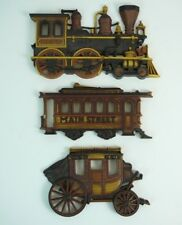 LOT OF 3 VINTAGE HOMCO STEAM ENGINE TRAIN, CABLE CAR, STAGECOACH DECOR
