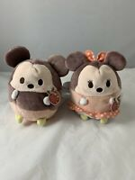 Disney Store Mickey And Minnie Mouse Scented Ufufy Round Soft Toy Teddy Plush