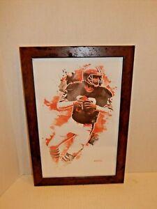 Cleveland Browns Print of NFL Player Bernie Kosar - Genuine Wood Frame & Glass