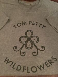 Tom Petty Classic Wildflowers Logo Gray T-Shirt Unisex Large