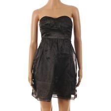 VERO MODA Dress Black Sateen Cocktail Corset Prom Full Skirt Size UK 8 BJ 199