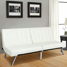 Modern Leather Futon Sofa Bed Fold Up & Down Couch Recliner Lounger Sleeper Whte