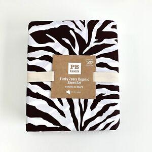Pottery Barn Teen Funky Zebra Organic Twin XL Sheet Set Dark Coffee animal print