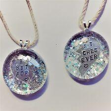 "2pk Silver Ultra Sparkle ""Best Bitches Forever"" Pendant Necklaces, Best Friend"