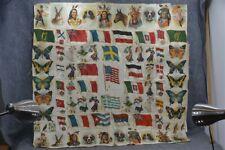 "cigarette tobacco silk patchwork quilt top 80 pcs 39 x 39""  antique original"