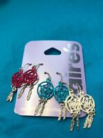 Three Pairs Of Claire's Dangling Dreamcatcher Earrings Blue Red And White