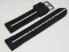 20mm Hadley-Roma MS3355 Mens Black With White Silicone Rubber Watch Strap