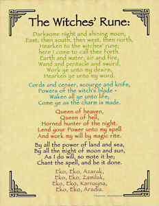 Poster Page THE WITCHES' RUNE Pagan Wicca Book of Shadows Guidandce 8 1/2 x 11