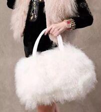 NWT Mongolian Lamb Fur Designer Glam XL Satchel Tote Purse Bag White Gift ❤️SALE