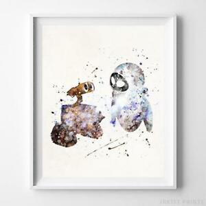 Wall-E Eve Wall Art Disney Watercolor Poster Nursery Room Wall E Gift UNFRAMED