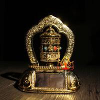 Tibetan Tibet Buddhist  Solar Energy Gilding OM Prayer Wheel Spinning For Car