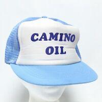 Vintage 1980's Camino Oil Gas Blue Foam Mesh Trucker Snapback Hat Cap