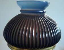 "BLUE RIBBED VIANNE STUDENT LAMP GLOBE OIL KEROSENE GLASS SHADE KERO 7"" fit. RAYO"