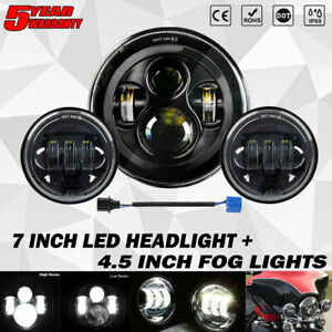 """7"""" inch LED Headlight +4.5"""" Passing Lights For Harley Davidson Touring Road King"""