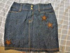 LADIES DENIM SKIRT SIZE 10 WITH TWO STAR EMBROIDERY
