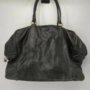 Gucci Womens Leather Satchel Duffle Bag Black Dual Handle Italy Extra Large