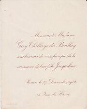 § FAIRE-PART DE NAISSANCE DE JACQUELINE THILLAYE DU BOULLAY - ROUEN, 1912 §