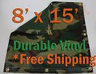 8' x 15' Heavy Duty 18 oz Vinyl Camo Camouflage Tarp Ground Cover Blind Hunting