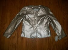 WOMEN'S JACLYN SMITH SILVER GREY METALLIC LEATHER LOOK JACKET S SMALL
