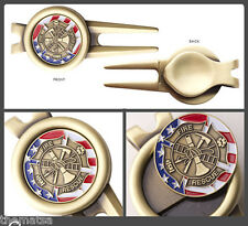 FIRE FIREFIGHTER FLAG CHALLENGE COIN DIVOT TOOL GOLF BALL MARKER NEW  SET