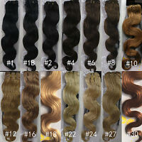 "AAA Full Head 18""~26"" Weft Weave Body Wave Human Hair Extensions 100g Width 60"""
