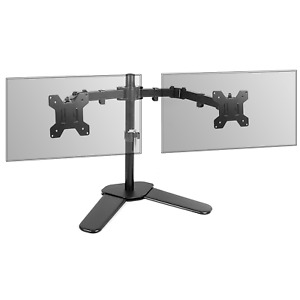 """Fully Adjustable Dual Monitor Stand 13-27"""" Screens Desk Stand 360° Rotate M&W"""