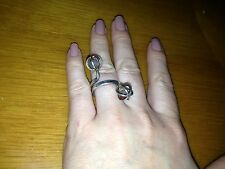 HUGE STERLING SILVER 925 LADIES RING WITH TWO STONES size 7.5.