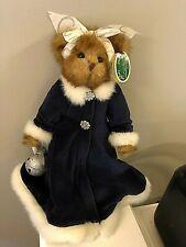 Bearington Bear Collection Sandra in Dark Blue & White Fur Trimmed Dress