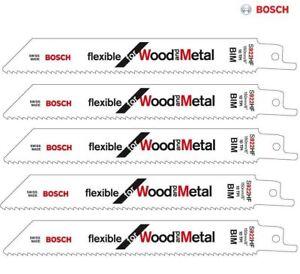 5 x Bosch S922HF reciprocating saw blades shark sabre wood metal Flexible