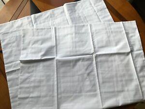 2  White Oxford Pillowcases, 100% Cotton Percale 420 TC,  Size 50cm x 75 cm