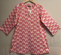 Women's RockFlowerPaper 100% Cotton Kurta tunic top Tezer Pink Size Large New