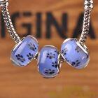 New 10pcs 14mm European Bracelet Resin Dots Loose Big Hole Beads Blue
