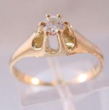 Art Deco 1930s 22ct European Cut Diamond Solitaire Engagement Ring 14k YG Sz 5.5
