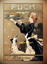 1905 Thanksgiving Woman with Turkey Vintage Puck Magazine 8x10 Hassman Art print