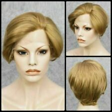 Dark Blonde Short Straight Mixed Color Lace Front Synthetic Hair Wig