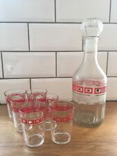 Rare 1960s Vintage French Retro Whisky Decanter 6 Red Square & Gold Glasses Set