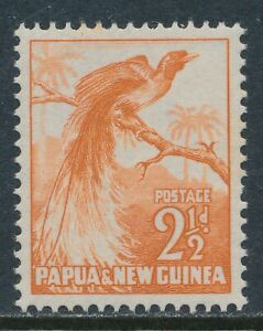 1952 PAPUA NEW GUINEA 2½d ORANGE FINE MINT MNH SG4 BIRD OF PARADISE