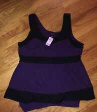 NWT TORRID Plus Sz 4 Purple And Black Sleeveless Peplum Flare Colorblock Dress