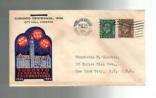 1934 City Hall Toronto Canada cover to USA City Centennial