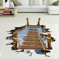3D Bridge Floor/Wall Sticker Removable Mural Decals Vinyl Art Living-Room Decor