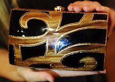 Timmy Woods SWAROVSKI CRYSTAL ETRUSCAN BLACK ENAMEL GOLD MINAUDIERE HANDBAG bag