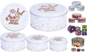 Set of 3 Christmas Cake Storage Tins Xmas Sweets Biscuit Cookies Tin 7 Designs