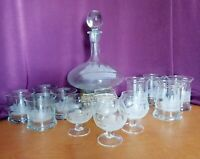 Vintage Clipper Ship Sailor Etched Glass Liquor Serving Set Decanter  12 Glasses