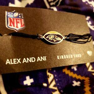 Alex and Ani   NFL Baltimore Ravens   Sterling Silver Kindred Cord Bracelet NEW