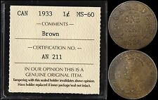 CANADA 1 CENT 1933 (ICCS MS60BN) *NICE EYE APPEAL*
