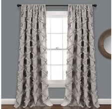"Gray Ruffle Diamond Curtains Textured Window Panel Set 95"" x 54"" (pair)"